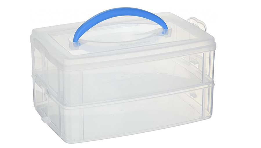 Plastic storage containers for camping organization